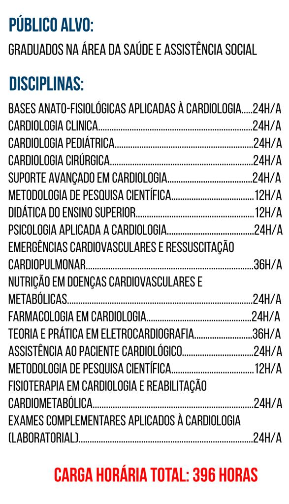 DISCIPLINAS DE CARDIOLOGIA MULTIPROFISSIONAL